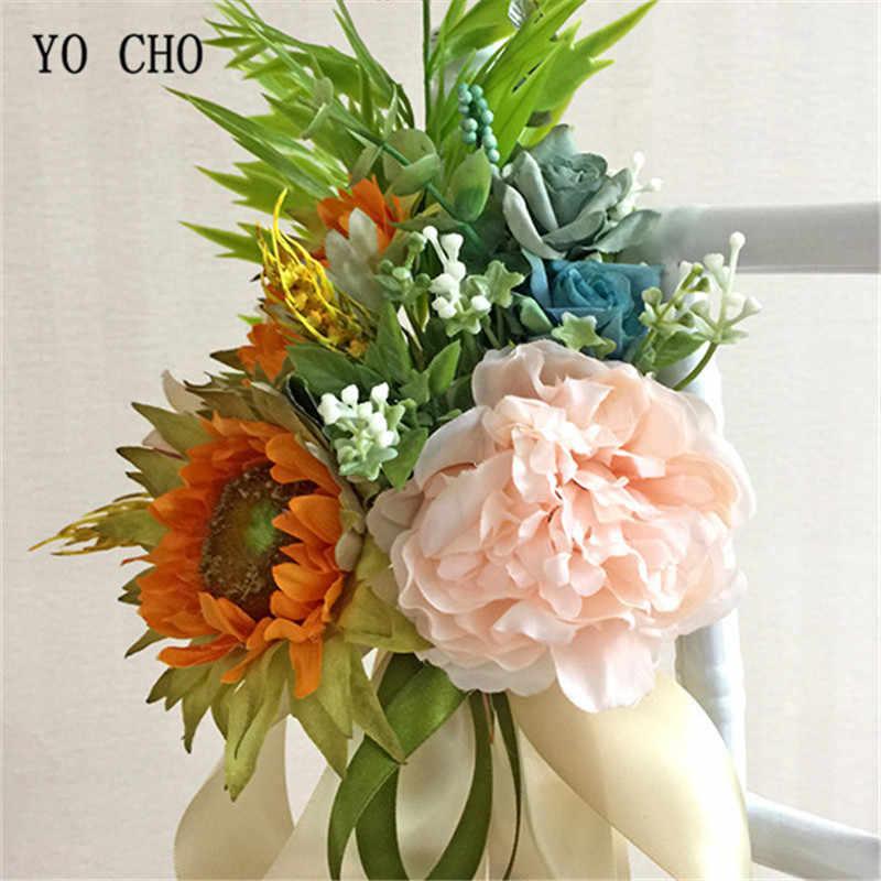 Yo Cho Diy Wedding Party Artificial Bridal Bouquet Silk Sunflower Peony Chair Door Window Home Church Office Decoration Flowers