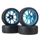Mxfans RC1:10 On Road Race Flame Rubber Tyre & 10-Spoke Alloy Wheel Rim Set of 4