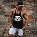 2016 хлопок фитнес одежда бодибилдинг майка мужчины Рукавов топы фитнес вес