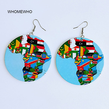 WHOMEWHO 60mm Colorful Painting Natural Wood Round Africa Map Earring Vintage Wooden African DIY Party Club Black Queen Jewelry