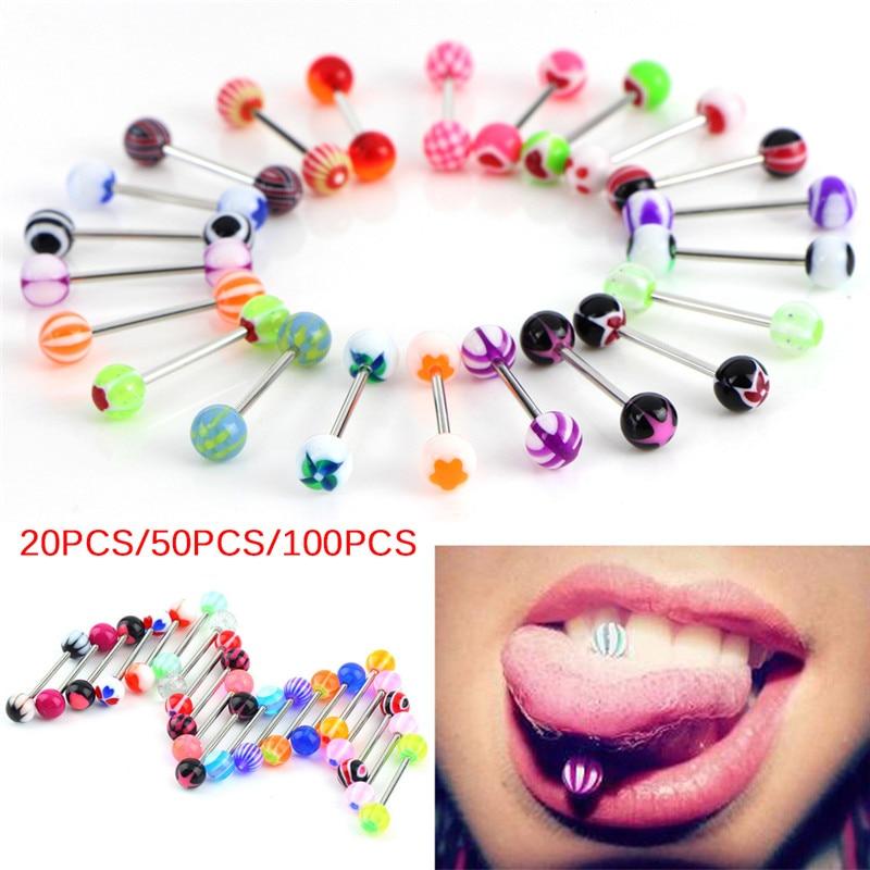 6Pcs//lot Fashion Tongue Bar Ring Barbell Piercing Jewelry Ball Color Random