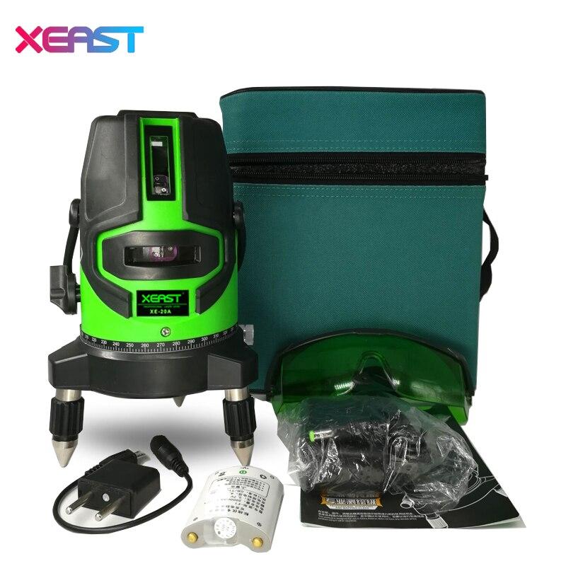 Xeast XE-20A nuevo 5 líneas láser 6 puntos 360 grados Rotary 635nm auto nivel láser con el modo al aire libre inclinación modo