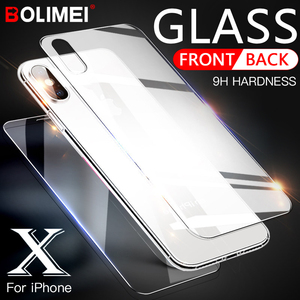 Image 1 - 0.3mm 9H 2.5D Tempered Glass for iPhone X Xr Xs Max 7 Plus screen protector iphone 6 6S 7 8 Plus front and back Protective Film
