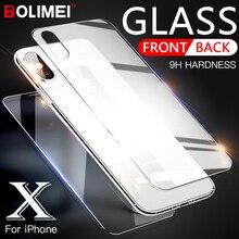 Protector de pantalla de cristal templado 9H 2.5D de 0,3mm para iPhone X, Xr, Xs, Max, 7 Plus, 6, 6S, 7, 8 Plus, película protectora frontal y trasera