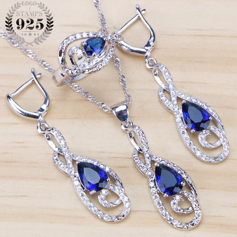 Blue CZ Stones Wedding 925 Sterling Silver Jewelry Sets Necklace Drop Earrings Rings For Women Ladies Jewellery Set Gift BoxBlue CZ Stones Wedding 925 Sterling Silver Jewelry Sets Necklace Drop Earrings Rings For Women Ladies Jewellery Set Gift Box