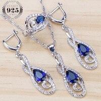 c4c0a57b62fb Piedras azules CZ boda 925 joyería de plata esterlina establece collar  pendientes anillos para las mujeres