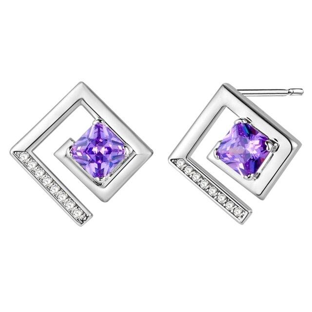 Purple Shining Crystal Square Stud Earrings Like Letter E Shape Cute Earring For Friends