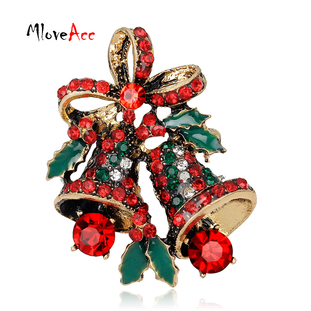 MloveAcc Crystal Rhinestone Small Christmas Gifts Bell Brooches ...