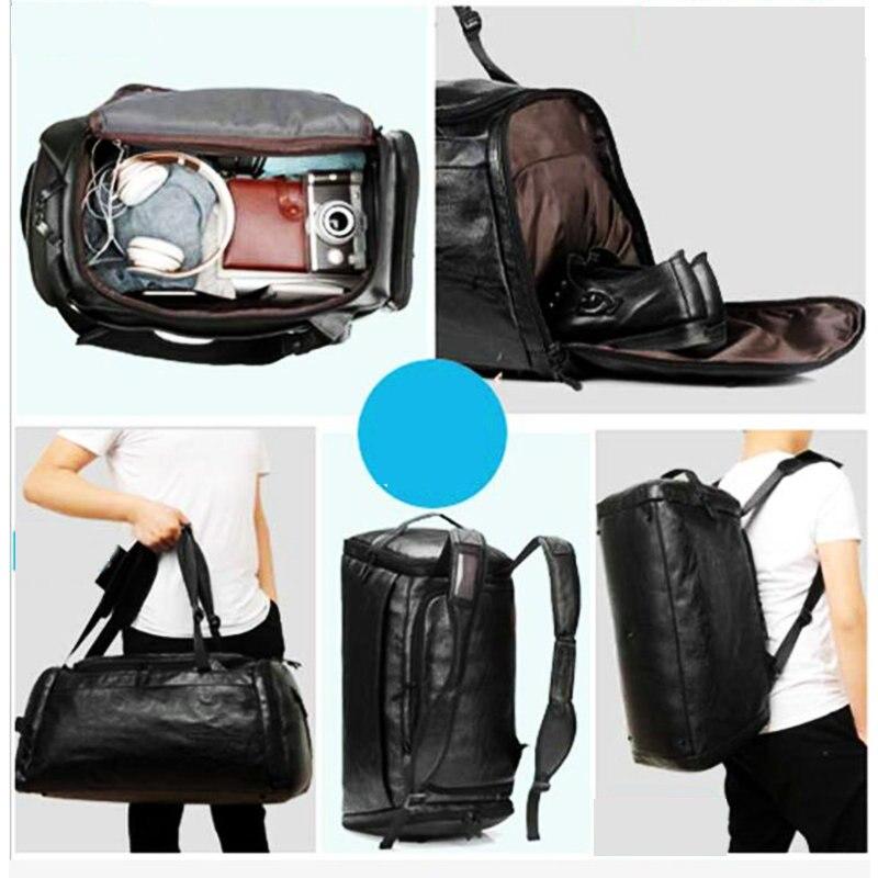 Купить с кэшбэком Gym Bags Leather Sport Backpack Men Black Big PU Training Crossbody Bag Women Brown Yoga Fitness Backpack Travel Luaggage Bags