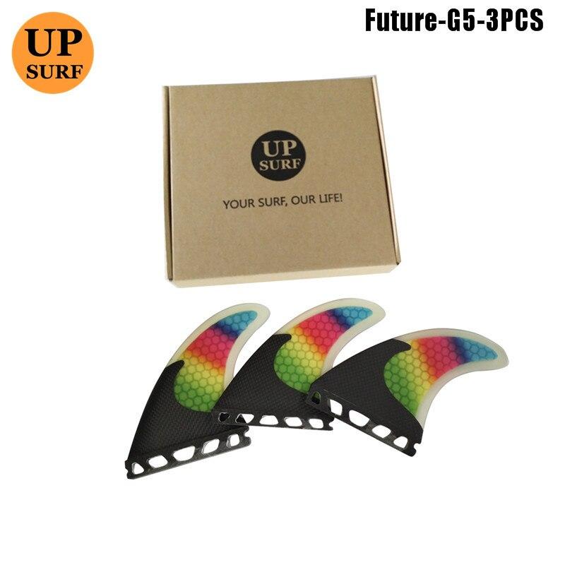 Купить с кэшбэком Surf FutureG5 Fins Fibreglass Colorful Fins Quilhas Surfboard Honeycomb M Size Fin Surfing Fins