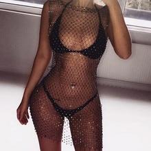 Женское бикини с блестящими кристаллами, закрывающие топы, сексуальные ажурные открытые прозрачные купальники, топы, черные, белые
