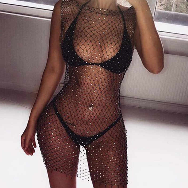 Mujeres Bikini cristal ostentoso Tops superiores Sexy Fishnet Hollow Out ver a través traje de baño Tops negro blanco