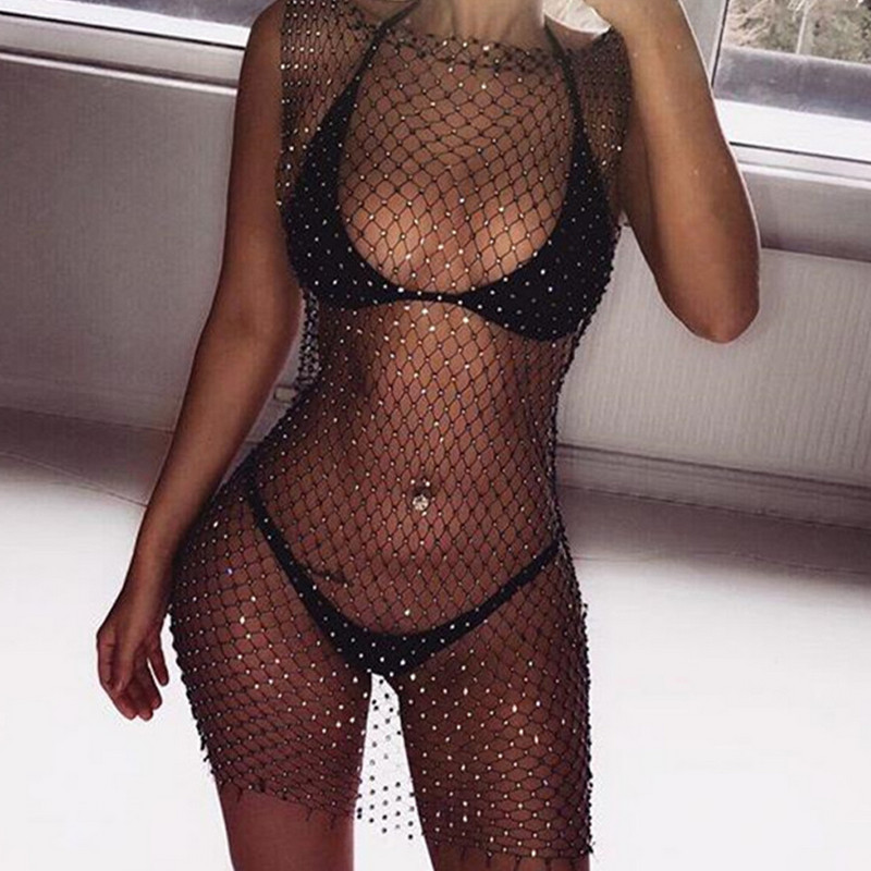 Women Bikini Bling Crystal Cover Up Tops Sexy Fishnet Hollow Out See Through Swimsuit Swimwear Tops Black White