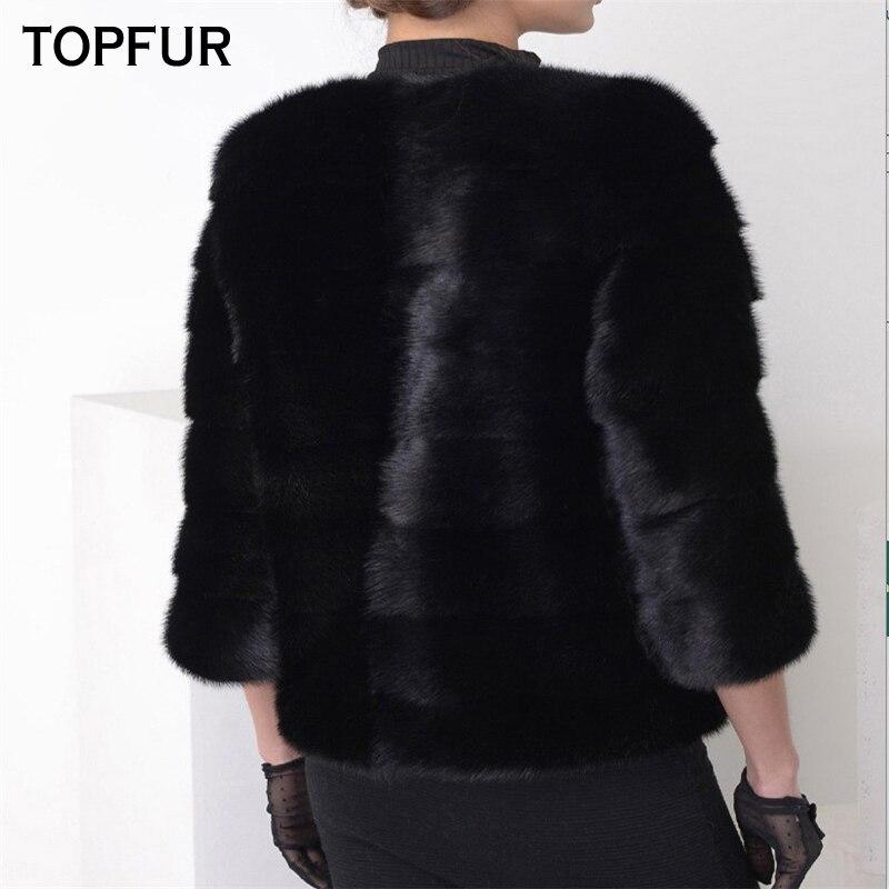 Manteau Rue Fourrure 100 Chaude Vente Femmes De Mode Top Arrivée Vison D'o cou Nouvelle Black Naturel Veste Qualité 2018 Topfur Réel Haute nH6g88