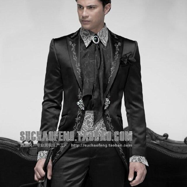 Moda Fit gola Bordado Melhor homem Tribunal Longo vestido de terno padrinho de casamento Dos Homens ternos do noivo Fraque Smoking Jacket + pant 2016