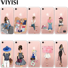 VIYISI For Apple iPhone 7 8 X 6 6S Plus case 5 5S SE Phone Case Summer Paris Girl Travel Cover TPU Silicone Back Coque Shell