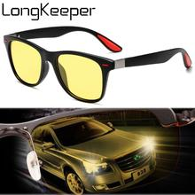 LongKeeper New Night Vision Sunglasses Men Women Classic Rivet Square Yellow Sun Glasses Car Driving Goggles UV400 Oculos