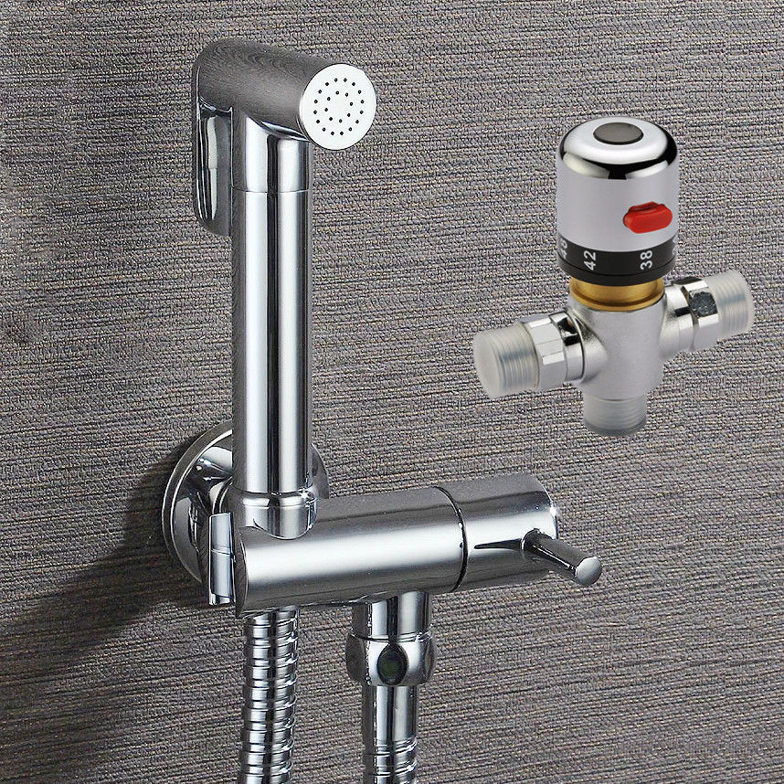 Free shipping Brass Bidet Sprayer Shattaf Shower Kit Set + 38 Degree Celsius Hot and Cold Water Thermostatic MIxer Valve02-114