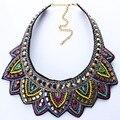 Nuevos colores de moda hoja rhinestone mujeres collar corto resina choker collar joyería declaración n25711