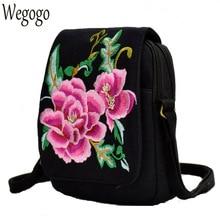 New Women Messenger Bag Boho Floral Embroidery Bag Canvas Mobile Phone Small Coins Purse Shoulder Bags Travel Beach Bolsa