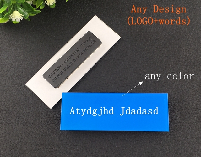 10pcs Custom Magnet Badge Logo Name Tag Magnetic Staff Reusable Holder With Double Acrylic