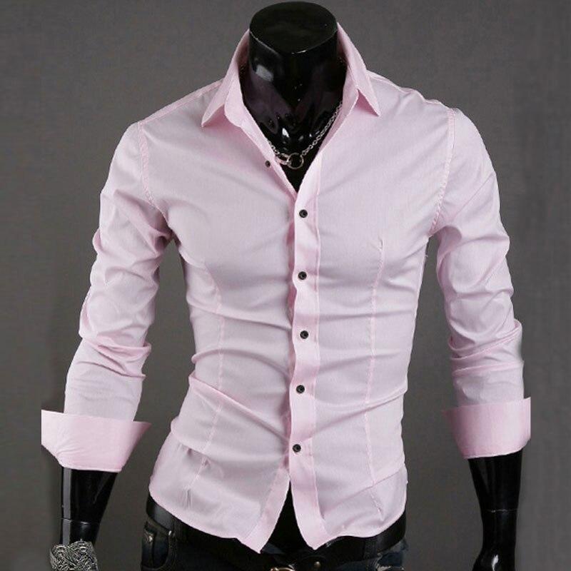 Casual Men Shirt Long Sleeve Slim Fit Solid Color Mens Dress Shirts Men Clothes Camisa Social Masculina Business Cloth Female