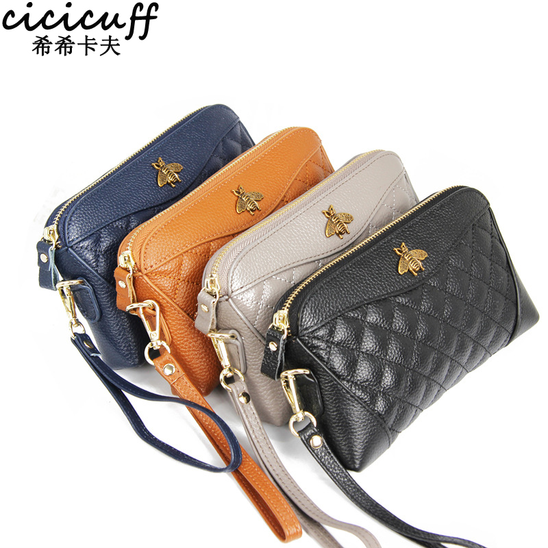 New Fashion Top Layer Cowhide Wallet Shell Type Soft Zipper Handbag For Woman Designer Brand Clutch Lovely Purse Long Wallet