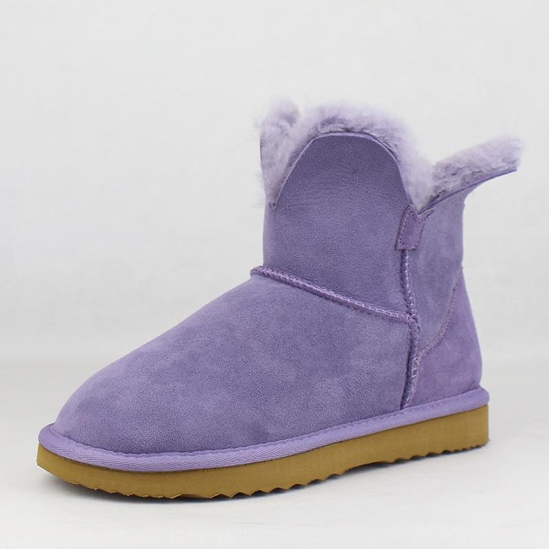 Botas de nieve de alta calidad UVWP para mujer, botas de invierno de piel de oveja genuina, zapatos de invierno de piel Natural, botas de lana auténtica para mujer-in Botas de nieve from zapatos    3