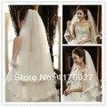 2016 Nova Bege ou branco 2 T Nupcial Do Casamento Frisado Véu de Borda com comb VL0022 10/pacote