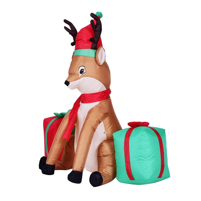 Christmas Inflatable Reindeer With Gift Boxes 4 Feet Animated Airblown Xmas  Holiday Home Yard Decoration In Pendant U0026 Drop Ornaments From Home U0026 Garden  On ...
