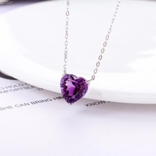 gemstone jewelry wholesale SGARIT brand luxury classic 925sterling silver purple amethyst natural crystal charm pendant necklace