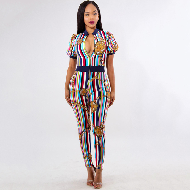 Women African Print Jumpsuit Chain Colorful Striped Print Zipper Combinaison  Femme Short Sleeve Jumpsuit Bodycon Night Clubwear 67a8f1a1fe4