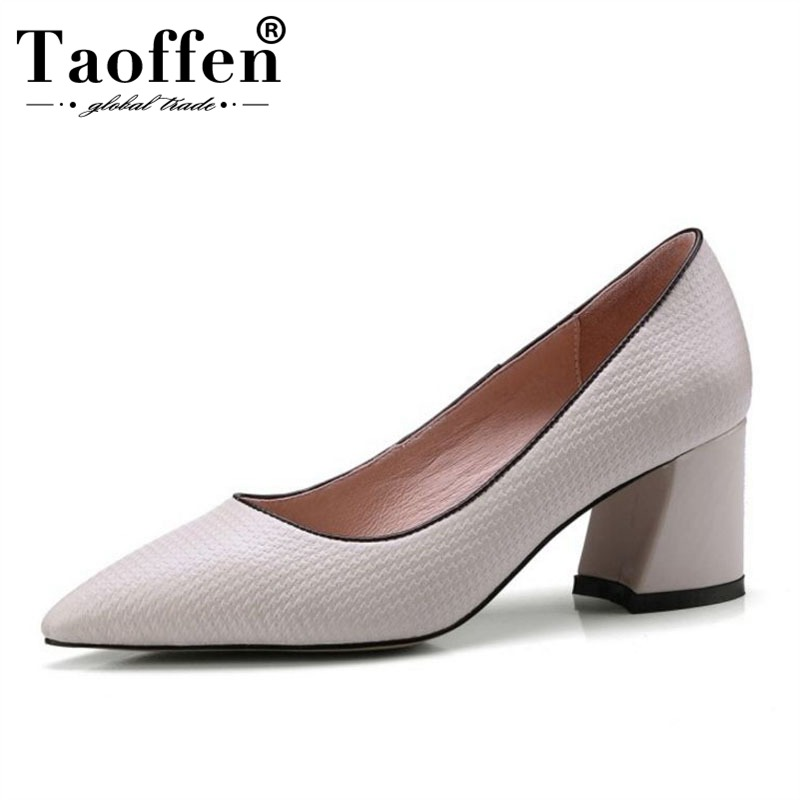 Taoffen Women Real Leather Spring New Office Ladies Pumps Pointed Toe High Heels Party Sexy Shoes