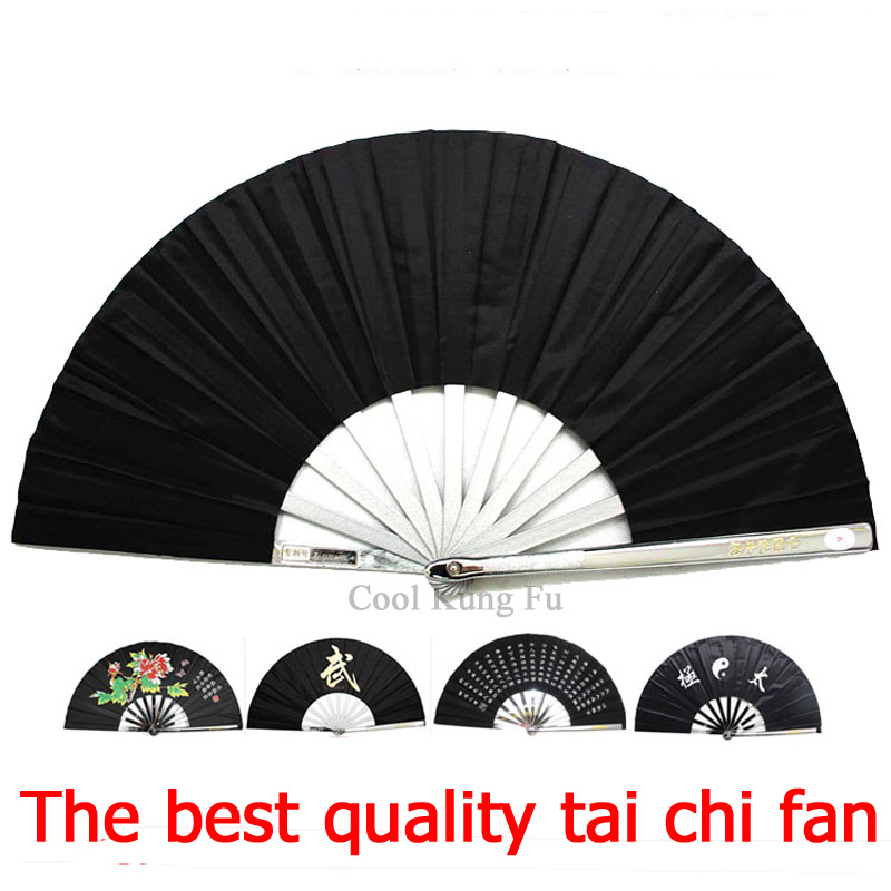 Tai Chi Fan black Martial arts equipment Stainless steel kung fu fan senior Martial Arts fan