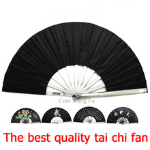 Tai Chi Fan black Martial arts equipment Stainless steel kung fu fan senior Martial Arts fan iron fan Portable Self-defense