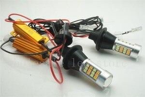 Image 2 - 2 pcs T20 7440 LED כפול צבע לבן/צהוב Switchback LED DRL הפעל אות אור שגיאת Canbus חינם