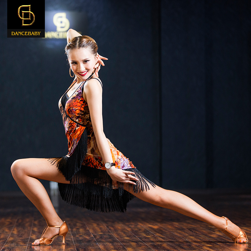 Picture of 2016 Woman New Halter Collar V Oblique Fringed Dance Skirt Tassel Printing Elastic Dress Rumba/Samba Dance Practice Dress