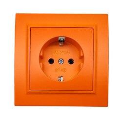 Wall socket Pop Socket Orange color Socket withearth Colorful European standard DIY Socket 16A 250V legrand Schneider livolo