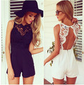 Summer Sexy Short Jumpsuit Sleeveless Lace Stitching Piece Shorts Jumpsuit Backless Playsuit Rompers