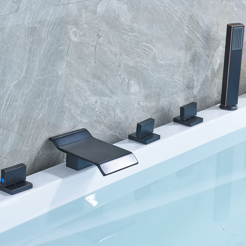 Modern Oil Rubbed Bronze Finish W/ Hand Shower Sprary Bath Tub 5PC Faucet Mixer Tap