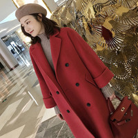 Wool Coat Women Long Maxi Coat Winter Wool Blends Coat Red Color Double Breasted Camel Thick