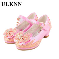 ULKNN Girls Shoes For Children High Heel Shoes Leather Flower Pearl Glitter Patch Soft Bow Baby