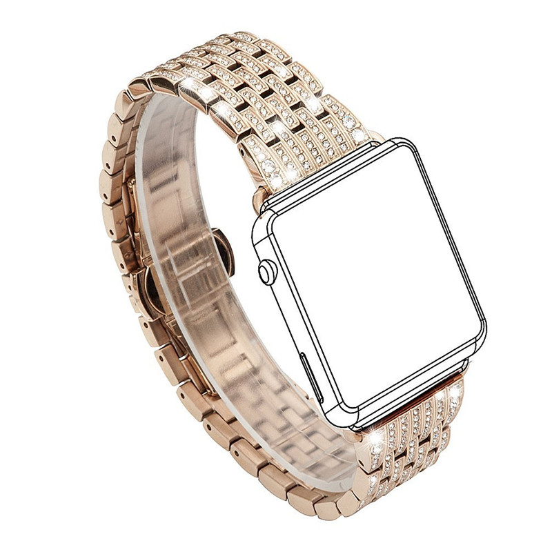 2a8912210d9e Women Dress Watch Band For Apple Watch Band Crystal Watch Bands Luxury  Stainless Steel Bracelet Strap For iWatch 38mm 42mm-in Watchbands from  Watches on ...