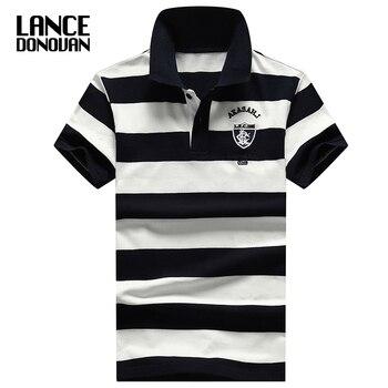 2019 nouvelle angleterre Style Design marque 92% coton camisa hommes Polo chemise décontracté rayé Slim manches courtes Plus asiatique taille M-4XL