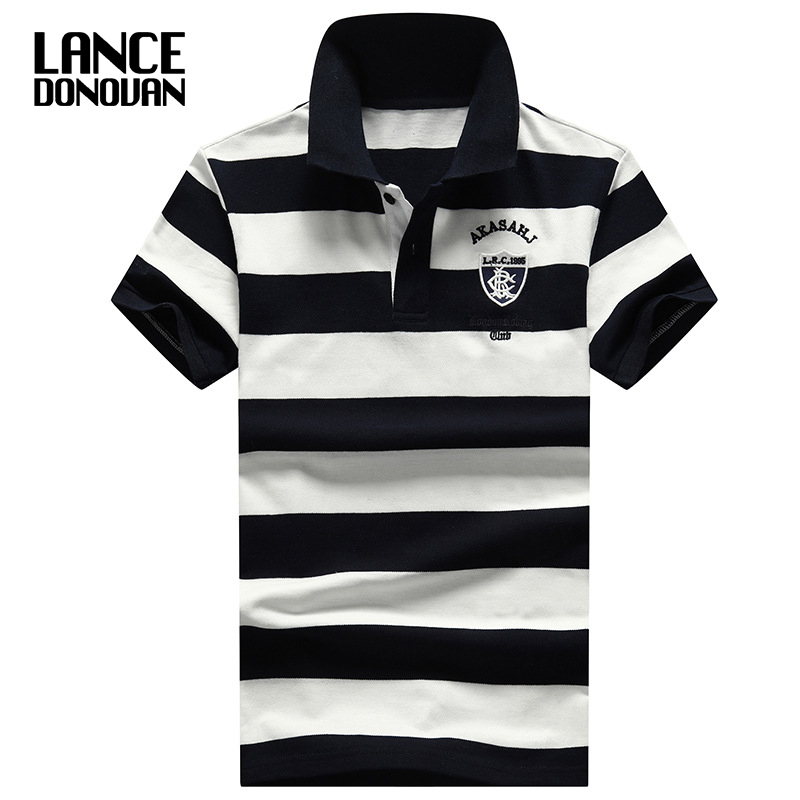 2019 New England Style Design Brand 92% Cotton camisa Men Polo Shirt Casual Striped Slim Short Sleeves Plus ASIAN SIZE M-4XL