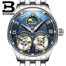 2017 NEW arrival men's watch luxury brand BINGER sapphire Water Resistant toubillon full steel Mechanical clock B-8606M-3