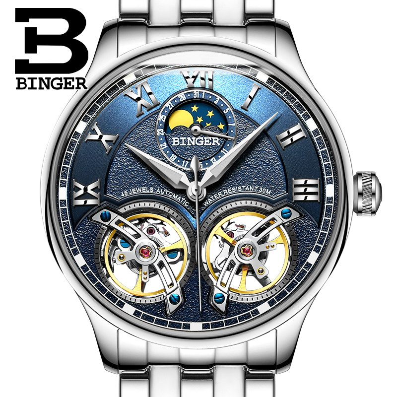 2018 NEW arrival mens watch luxury brand BINGER sapphire Water Resistant toubillon full steel Mechanical clock B-8606M-32018 NEW arrival mens watch luxury brand BINGER sapphire Water Resistant toubillon full steel Mechanical clock B-8606M-3