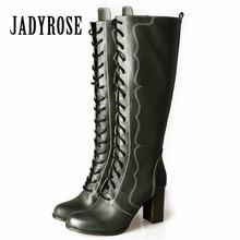 c8456aa2d7b05c Jady Rose Vert Rétro En Cuir Véritable Femmes Bottes D'équitation Femelle  Genou Haute Bottes Plate-Forme Haute Talon En Caoutcho.