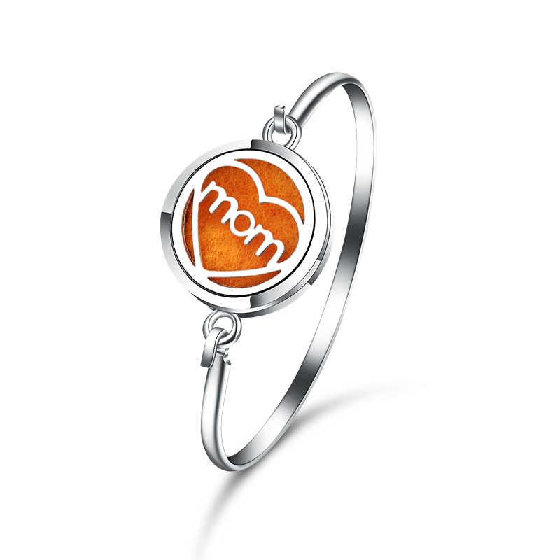 Hoge Kwaliteit Moeder In Mijn Hart Parfum Essentiële Olie Diffuser Medaillon Armband 316L Rvs Aromatherapie Magnetische Bangle