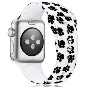 Силиконовый ремешок с принтом Лапы Для Apple Watch 38 мм/40 мм 42 мм/44 мм спортивный ремешок для iwatch серии 4/2/1 браслет
